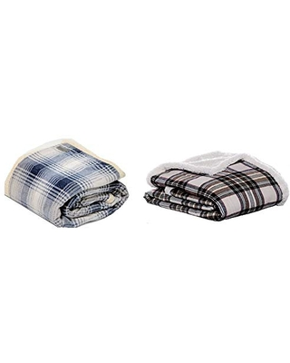 Brushed Fleece Throw Blanket Reversible Sherpa Cover & Flannel Collection Throw Blanket Reversible Sherpa Fleece Cover Soft & Cozy Perfect for Bed or Couch Edgewood Khaki - eddie bauer