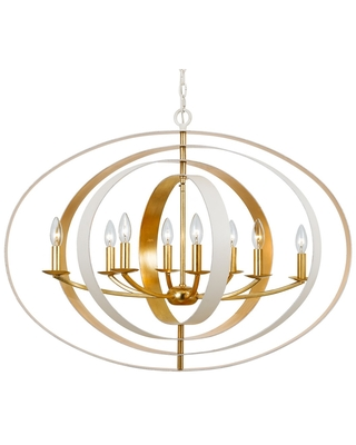 Luna 8 Light dustrial Chandelier in Matte And - crystorama