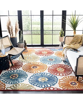 SAFAVIEH Cabana Collection CBN801A Floral Indoor/ Outdoor Non-Shedding Easy Cleaning Patio Backyard Porch Deck Mudroom Area Rug, 8' x 10', Cream / Red