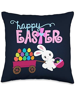 HAPPY EASTER Bunny Egg Basket Christian Cross Girls Toddlers Throw Pillow 16x16 - love easter & jesus christian gifts