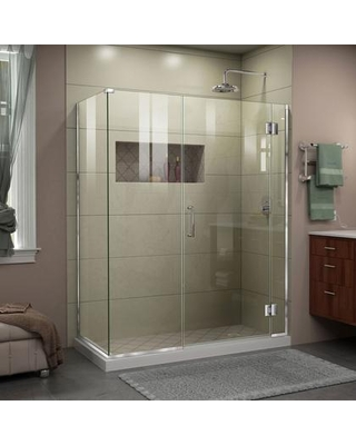 """E12422534-01 Unidoor-X 52 1/2 """" W x 34 3/8"""" D x 72"""" H Frameless Hinged Shower Enclosure in"""