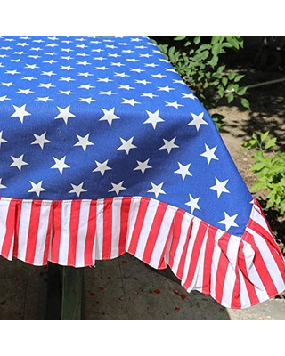 Patriotic TableCloth Ruffle Tablecloth 4th July Table Decor - cocomiadesign