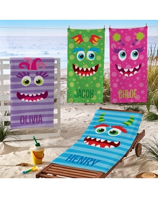 Personalized Beach Monster Beach Towel Available in 4 Colors - generic