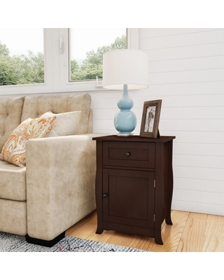 Side Table - Accent Nightstand with Drawer and Cabinet - somerset home