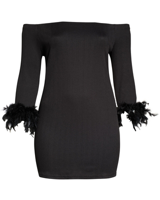 Off the Shoulder Feather Cuff Dress at Nordstrom - river island