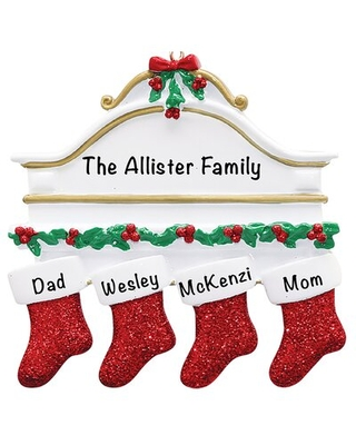Stockings Family of 4 Holiday Shaped Ornament - the holiday aisle