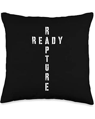 Christian Cross Rapture Ready Throw Pillow 16x16 - christian evangelical rapture shirts & gifts