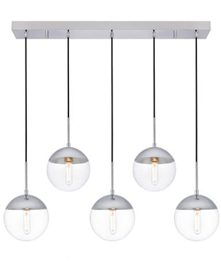 LD6083C Eclipse 5 Light 8 inch Chrome Pendant Ceiling Light With Clear - living district