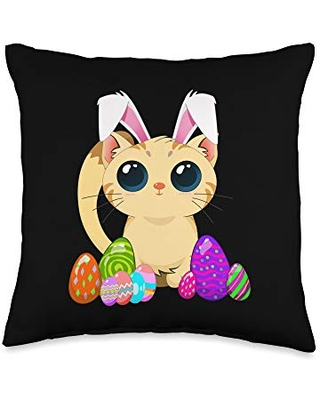 Cute Easter Cat Holiday Bunny Ears and colored eggs Throw Pillow 16x16 - easter holiday design apparel gifts