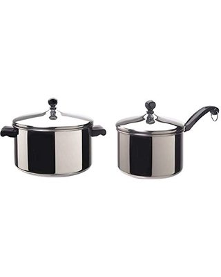 Classic Stainless Steel 6 Quart Stockpot with Lid Stainless Steel Pot with Lid Silver & Classic Stainless Steel Sauce Pan Saucepan with Lid Silver - farberware