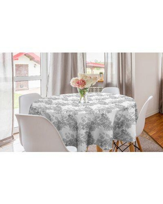 East Urban Home Ambesonne Grey Round Tablecloth, Spherical Disc Shaped Internal Pitch Bowls Spiral Mesh Hoop Concept Design Print in White   Wayfair