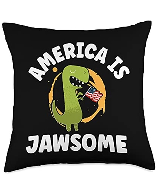 America Is Jawsome 4th Of July Dinosaur Patriotic Throw Pillow 18x18 - zone - 365 4th of july dinosaur lover