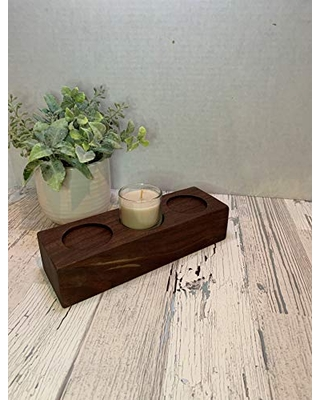 wood Candle Holder Made from reclaimed walnut For use with Tea Light Votive Candles as a Centerpiece - southern charm woodworks