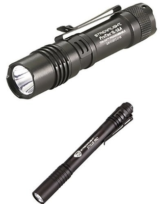 Lumen Professional Tactical Flashlight with High Low Strobe Dual Fuel and Stylus Pro LED PenLight with Holster - streamlight