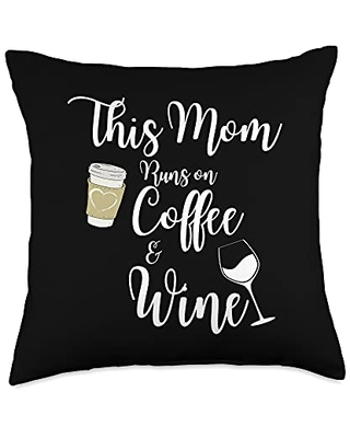This Mom Runs On Coffee And Wine Caffeine Lover Throw Pillow 18x18 - this mom runs on coffee and wine gift co