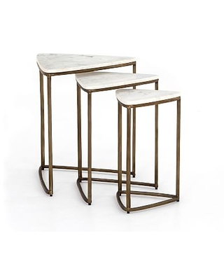 Cecilia Marble Nesting End Tables Ivory Brass - undefined