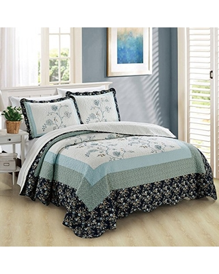 Dorset Printed 3 Piece Bedspread Quilts Set Soft Lightweight Breathable Coverlet Bedding Set Cover for All Season Queen - home soft things