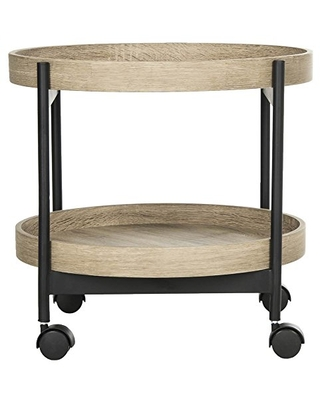 Home Collection Javan Retro Mid Century Light Oak and Side Tray Table - safavieh