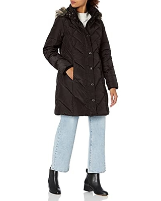 Women's Snap Front Down Coat with Multi Pattern Quilt and Hood S - london fog