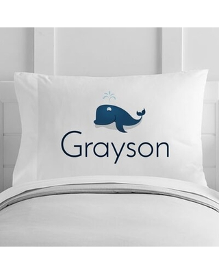 Personalized Whale Toddler Pillow Case - 4 wooden shoes