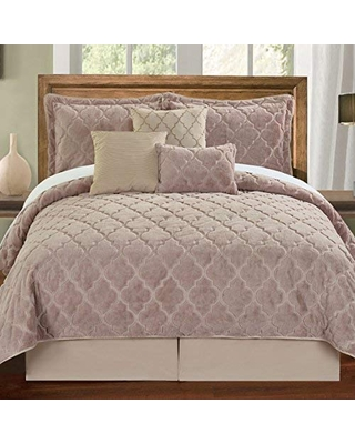 Home Soft Things Faux Fur Ogee Embroidery 7 Piece Bedspread Quilts Set Geometric Pattern Bed Cover Bedspread Coverlet Bedding Set Comforter with Matching Accent Pillows King - bnf home