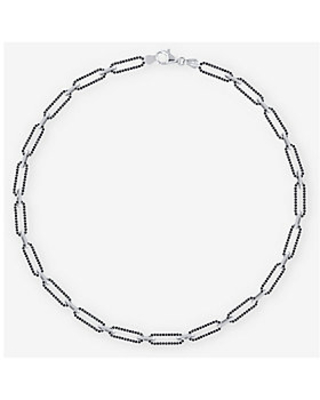 Imperial Spinel Paper Clip Link Necklace - imperial silver