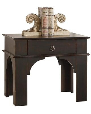 BM185325 Rectangular Wooden End Table With Ring Pull Drawer Antique Espresso - benzara
