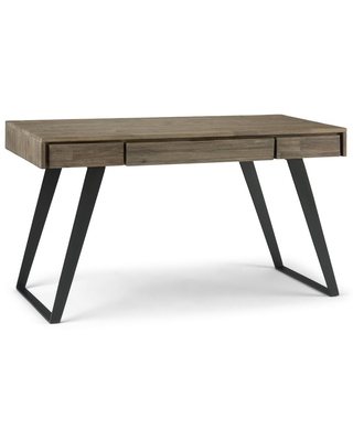 54 in Rectangular 2 Drawer Writing Desk with Solid Wood Material - brooklyn + max