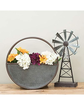 Foreside Home & Garden 25 x 25 inch Round Galvanized Metal Wall Planter 25 x 25 - foreside home and garden