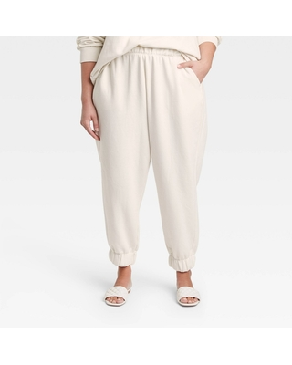 Women's Plus Size High Rise Pull On All Day Fleece Ankle Jogger Pants Ivory - a new day