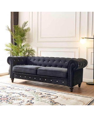 Velvet Sofa Couches for Living Room Living Room Furniture Set Chesterfield Button Tufted Loveseat Sofa Velvet Sofa with Scroll Arms for Living Room - anysun