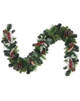 Pre Decorated Frosted Pine Cone and Berry Artificial Christmas Garland - northlight seasonal