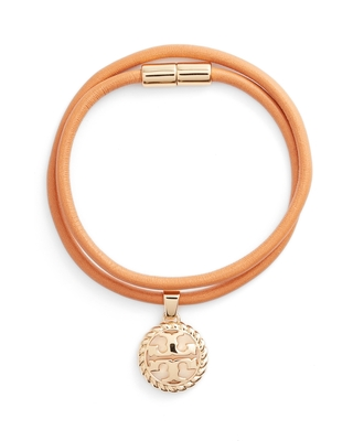 Rope Logo Leather Wrap Bracelet in Tory Vachetta at Nordstrom - tory burch