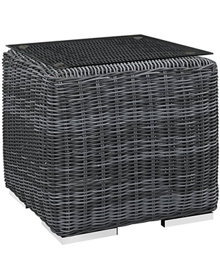 EEI 1867 GRY Summon Wicker Rattan Outdoor Patio Square Side Table - modway