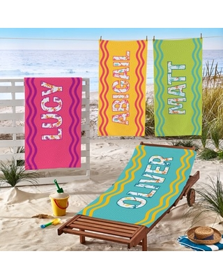 Personalized Big Name Beach Towel Available in 4 Colors - generic