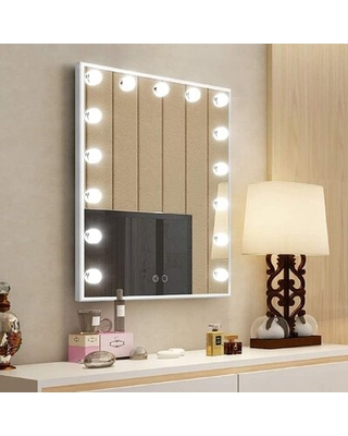 Hollywood Vanity Mirror With Lights, Tabletop Or Wall Mounted Lighted Makeup Mirrors With 15 LED Bulbs (White)