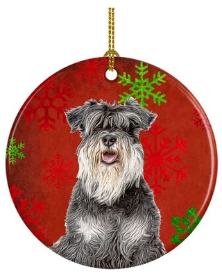 Snowflakes Holiday Christmas Schnauzer Ceramic Hanging Figurine Ornament - the holiday aisle