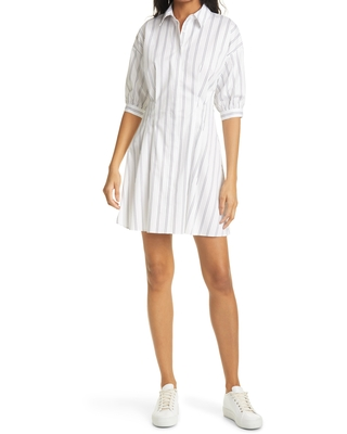 Club Monaco Stripe Sculptural Sleeve Shirtdress, Size 12 in White Multi at Nordstrom