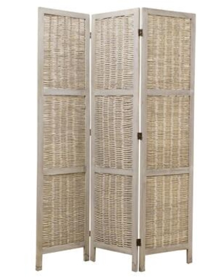 BM26577 Cottage Style 3 Panel Room Divider with Willow Weaving - benzara