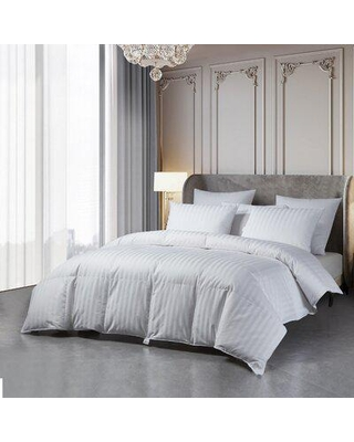 Beautyrest Damask Stripe US Grown Cotton Hungarian Goose Down Comforter - All Seasons Goose Down in White, Size 90.0 H x 90.0 W x 1.0 D in | Wayfair
