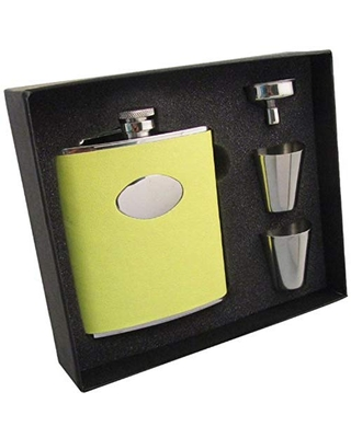 """""""Sunshine"""" Leather Stainless Steel Hip Flask Gift Set 6 Ounce - visol"""