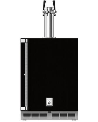GFDSR242 BK Outdoor Dual Faucet Beer Dispenser with 2 cu ft Capacity LED Lighting Solid Locking Door and Right Hinge in Stealth - hestan
