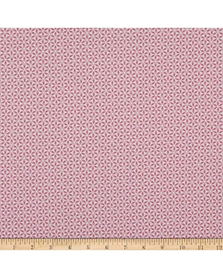 Benartex Contempo Words to Quilt by Geo Flower Fabric, Pink/White