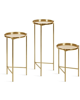 Ulani Round Metal Accent Table Set 3 Piece - kate and laurel