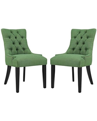 Regent Collection EEI 2743 GRN SET Dining Chairs with Rubberwood Tapered Legs Nailhead Trim Non Marking Foot Caps Solid Wood Frame - modway