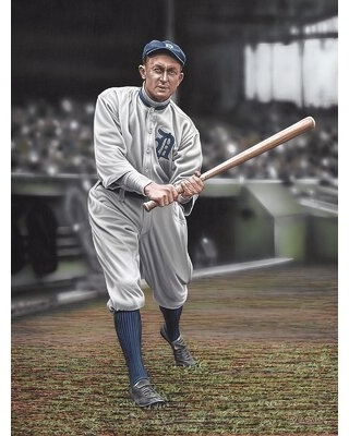 Ty Cobb Batters on Deck Artwork by Darryl Vlasak Painting Print on Wrapped Canvas - buy art for less