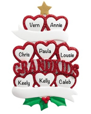 Grandkids Hearts Family of 8 Holiday Shaped Ornament - the holiday aisle