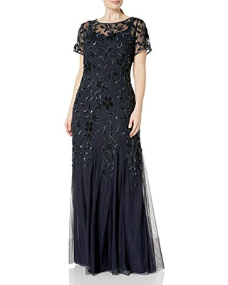 Women's Plus Size Floral Beaded Gown with Godets 14W - adrianna papell