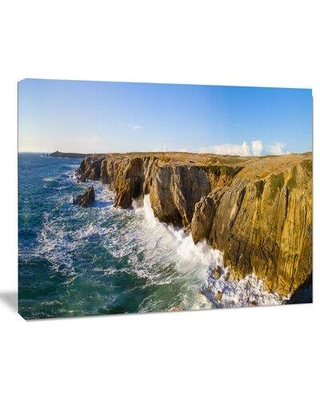 Design Art Cote Sauvage Bretagne France - Wrapped Canvas Photograph Print Canvas & Fabric in Blue/Brown, Size 12.0 H x 20.0 W x 1.0 D in | Wayfair