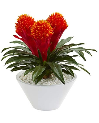 """17"""" Bromeliad Artificial Vase Silk Plants - nearly natural"""